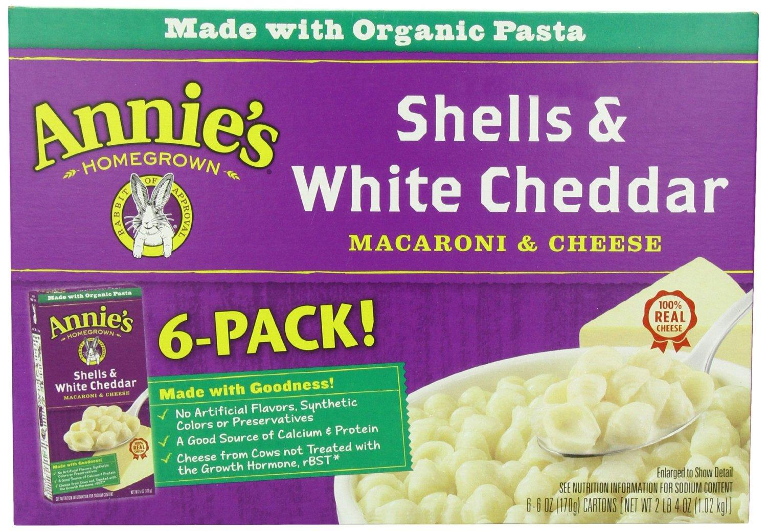 $24.23 Annie's Homegrown Shells & White Cheddar, 6-Ounce Boxes (Pack of 24)