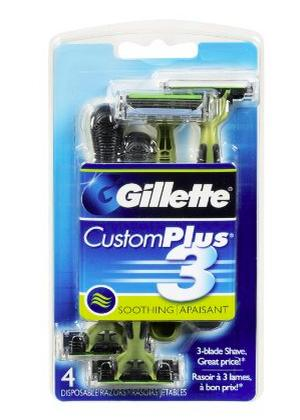 $11.5 Gillette Customplus 3 Soothing Disposable Razor 4 Count (Pack of 3)