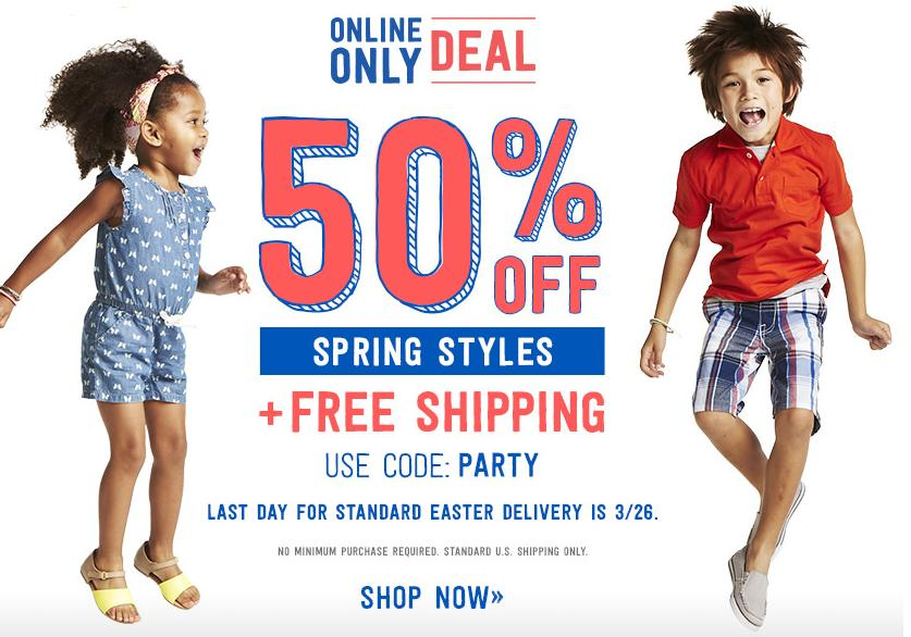 50% Off Spring Styles $25 off of $50 with Visa Checkout @ Crazy 8