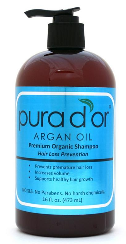 Pura d'or Hair Loss Prevention Premium Organic Shampoo, Brown and Blue, 16 Fluid Ounce