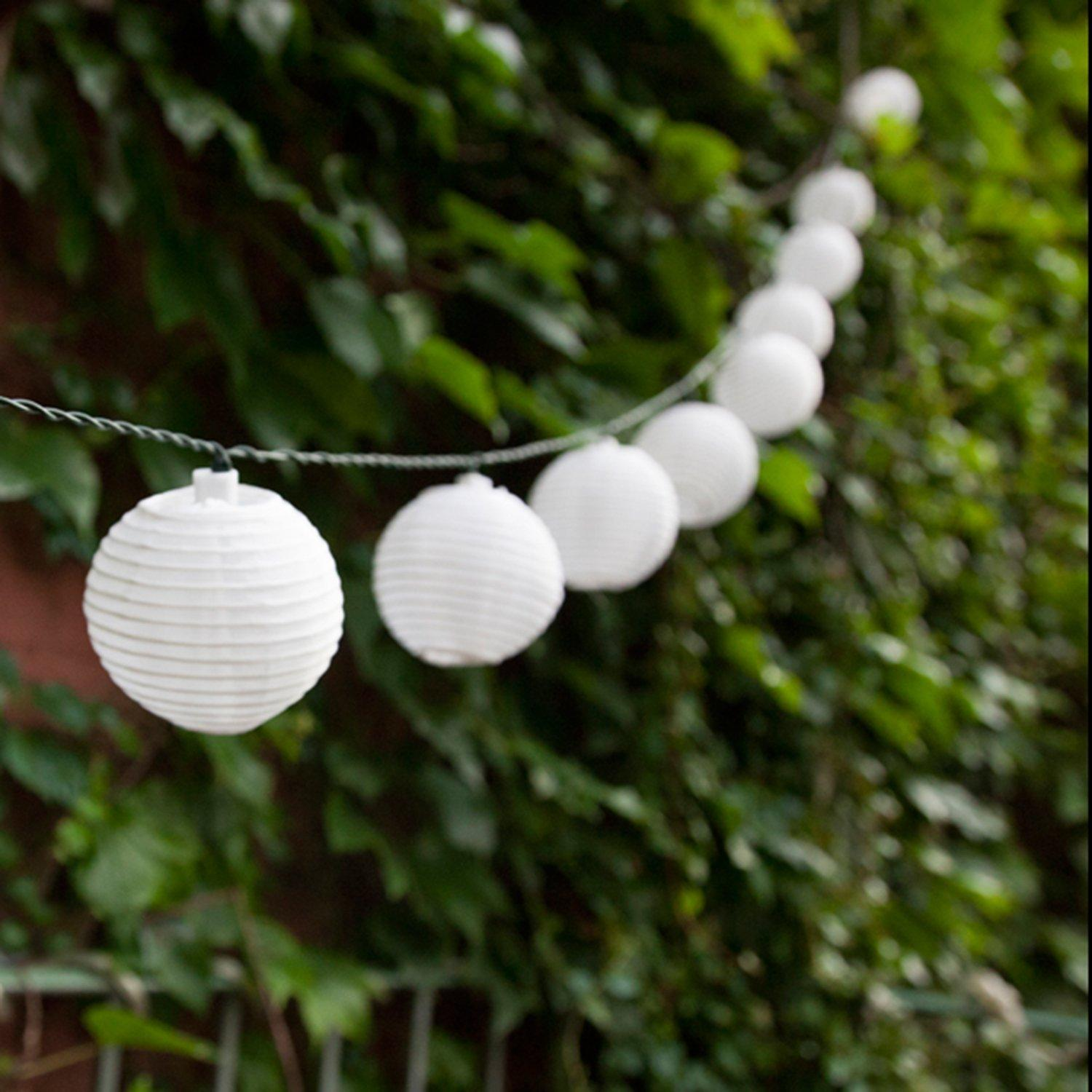 $12 Set of 10 White Indoor/Outdoor Mini Oriental Style Nylon Lantern Plug-in String Lights