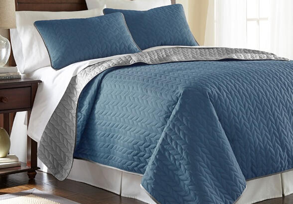 $29.99 3-Piece Solid Reversible Coverlet Set