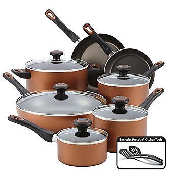 Farberware 14-pc. Copper Dishwasher Safe Nonstick Cookware Set