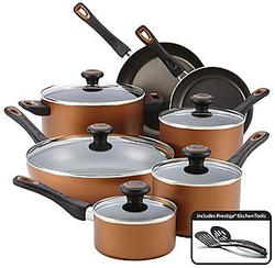 $39.97 Farberware 14-Piece Copper Dishwasher Safe Nonstick Cookware Set