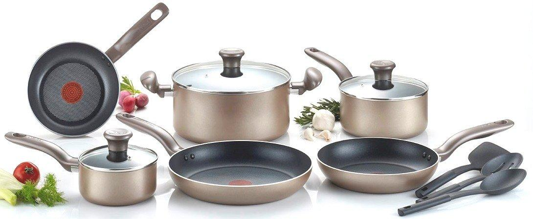 1 T-fal C067SC Metallics Nonstick Thermo-Spot Heat Indicator Cookware Set, 12-Piece, Bronze