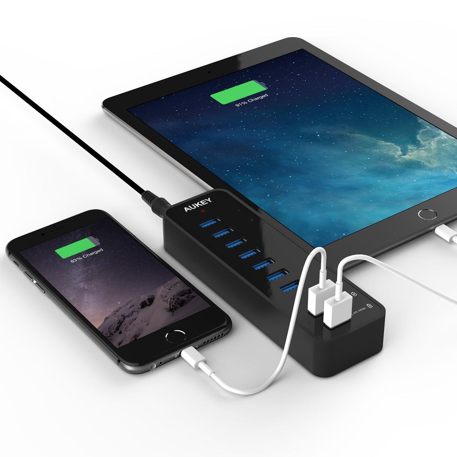 Aukey 7-Port USB 3.0 Hub with 2 Smart Charging Ports (Up to 2.4A) with 12V 4A Power Adapter and USB 3.0 Cable