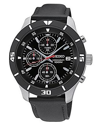 Seiko Men's Chronograph Stainless Case & Black Dial Watch w Black Leather Strap