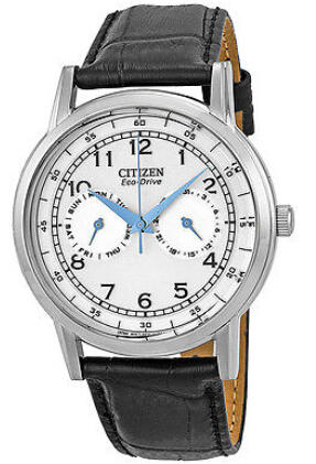 $119.99 Citizen Eco-Drive Silver Dial Stainless Steel Black Leather Mens Watch A0900006B