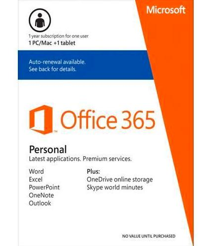 $29.99 Microsoft Office 365 1 Year Subscription 1 User 1PC/Mac + 1 Tablet
