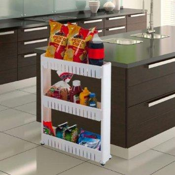 $21.98 Trademark 82-3LSS 3-Tier Slim Slide Out Pantry on Rollers
