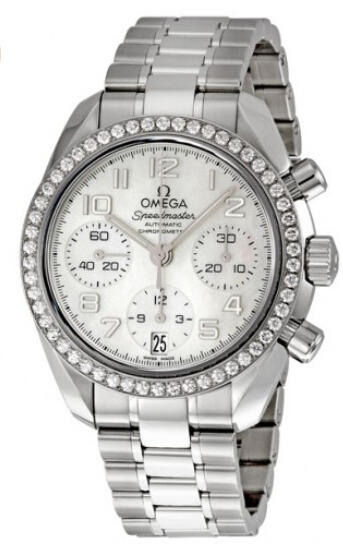 $4650 Omega Speedmaster Diamond Bezel Automatic Chronograph Ladies Watch 324.15.38.40.05.001