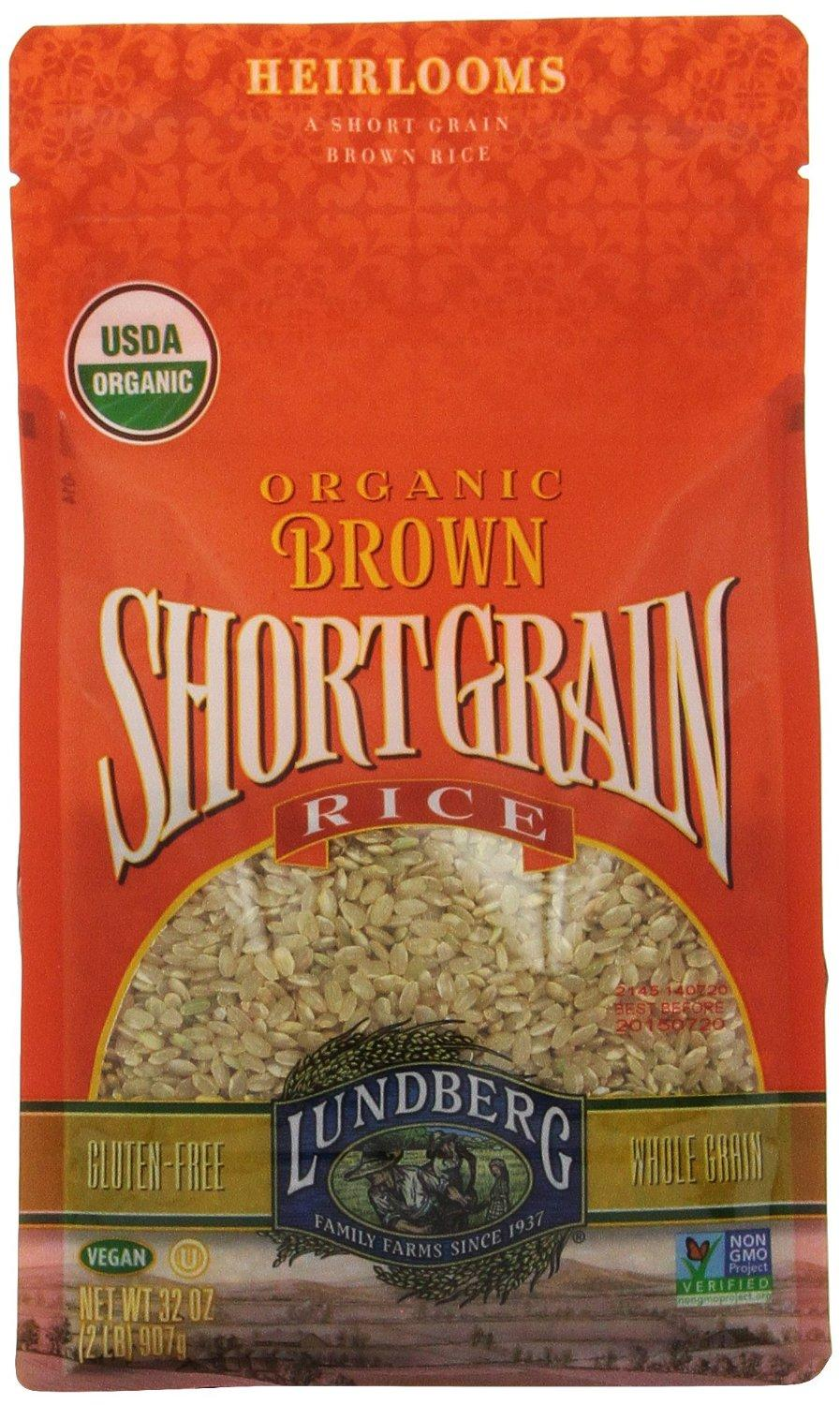 $17.1 Lundberg Organic Short Grain Brown Rice, 32-Ounce (Pack of 6)