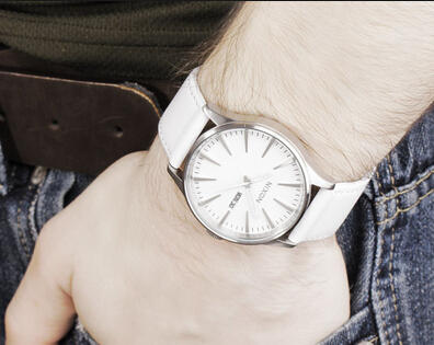 $74.99 Nixon Sentry Leather Silver White Dial Stainless Steel Unisex Watch A105-391