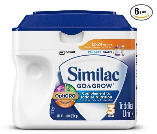 Similac Go & Grow Stage 3, Milk Based Toddler Drink with Iron, Powder, 22 Ounces (Pack of 6)