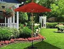 $75 California Umbrella 9-Feet Olefin Fabric Aluminum Auto Tilt Market Umbrella with Bronze Pole