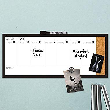 $4.99 Quartet® Magnetic Weekly Organizer Combo Board, Dry-Erase & Cork, Assorted Sizes and Frames