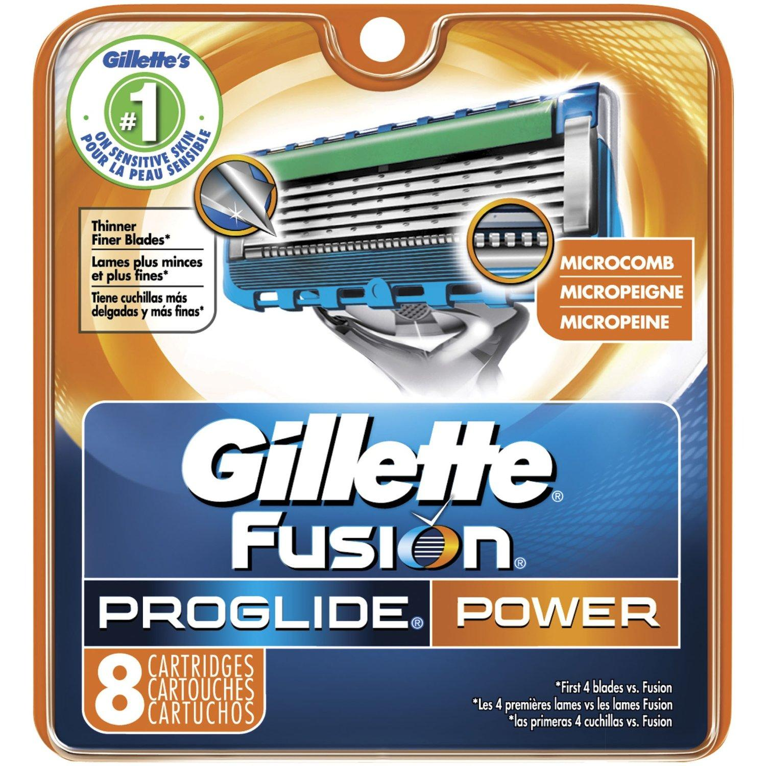 $13.47 Gillette Fusion Proglide Power Razor Blade Refills for Men, 8 Count