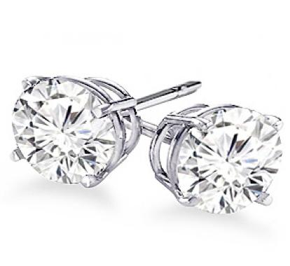 14K White Gold 4-Prong Round Cut Diamond Stud Earrings 1/4 ct. tw.