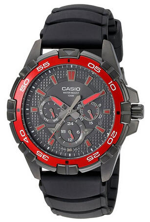$62.4 Casio Men's MTD1069B-1A2 Round Analog Black and Red Dial and Black Resin Strap Watch