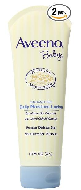 Aveeno Baby Daily Moisture Lotion, Fragrance Free, 8 Ounce (Pack of 2)