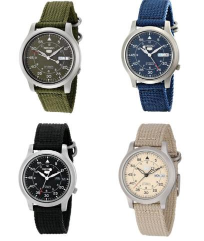 $42.99 Seiko Men's Automatic Stainless Steel Watch with Canvas Band