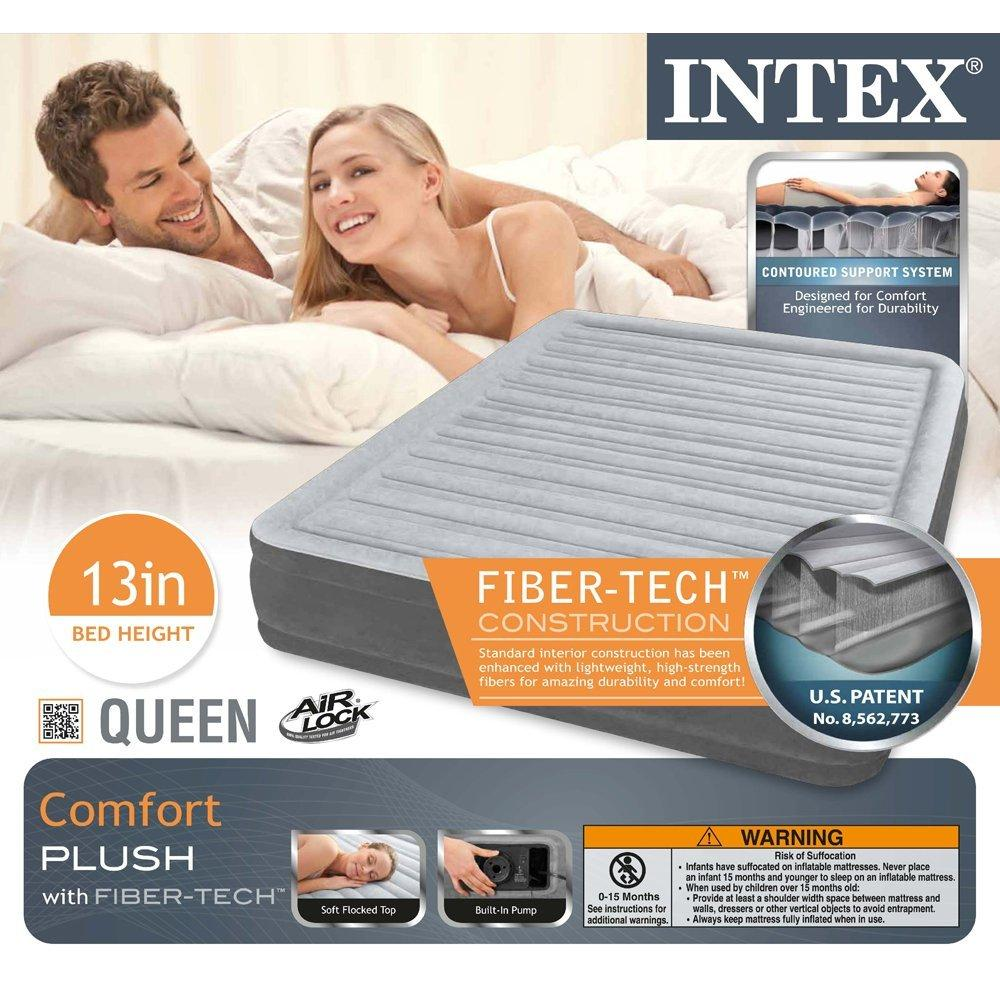 Intex Comfort Plush Mid Rise Dura-Beam Airbed with Built-in Electric Pump