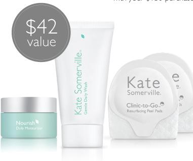 Free Mini Gentle Trio Setwith any $150 Purchase @ Kate Somerville