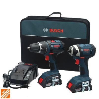 $159 Bosch 18-Volt 2-Tool Kit with Compact Tough Drill Driver, Impact Driver and (2) SlimPacks