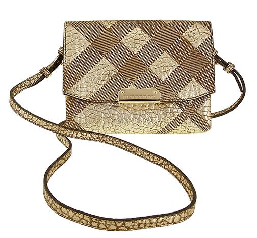 Burberry Langley Check-Embossed Leather Shoulder Bag Metallic