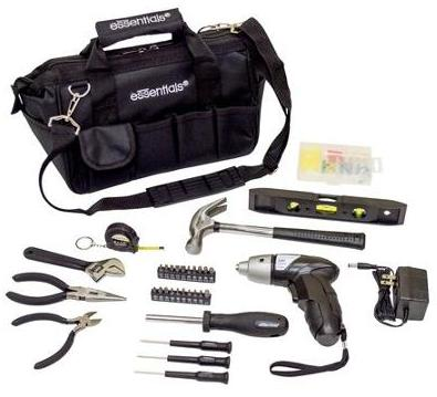 Essentials 34-Piece Around the House Tool Kit with Cordless Screwdriver