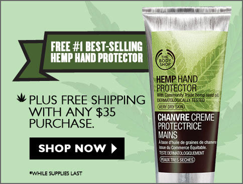 Free Hemp Hand Cream + Free Shipping  with Any $35 Purchase @ The Body Shop
