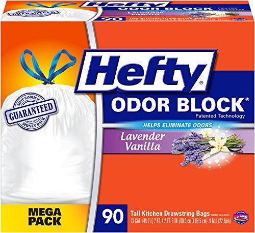 $10.91 Hefty Odor Block Tall Kitchen Trash Bags, Scent Free, 90 Count