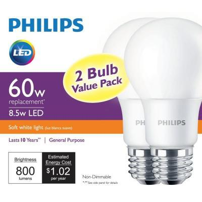 $4.97 2-Pack Phillips 2700K LED A19 Light Bulbs (60W equivalent)