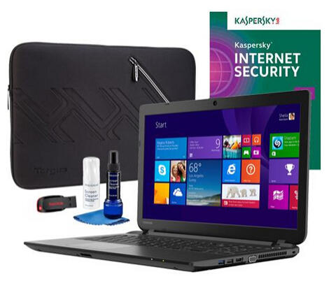 $249.99 Toshiba C55D-B5102 Laptop, Internet Security Software, Screen Cleaner, Sleeve & Flash Drive Package