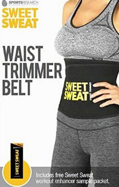 Sweet Sweat Premium Waist Trimmer for Men & Women. Includes Free Sample of Sweet Sweat Workout Enhancer