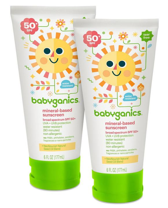 $14.38 Babyganics Mineral-Based Baby Sunscreen Lotion, SPF 50, 6oz Tube (Pack of 2)
