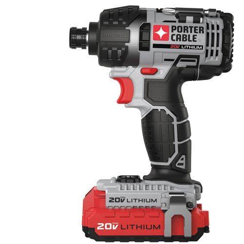 "$59.99 PORTER-CABLE refurbished 20V MAX* 1/4"" Hex Lithium Ion Impact Driver Kit PCCK640LBR"