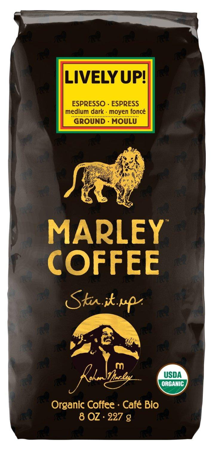 $5.31 Marley Coffee, Organic Lively Up! Espresso Ground Coffee, 8 Ounce