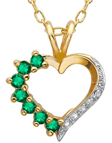 Emerald Heart Pendant with Diamond Only $19 Plus Free Shipping