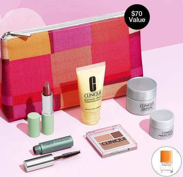 FREE 7-Piece Gift (A $70 Value) + Free Happy Fragrance mini with any $27 Purchase @ Clinique
