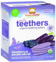 $4.29 Happy Baby Gentle Teethers Organic Teething Wafers, Blueberry and Purple Carrot, 1.7 Ounce (Pack of 6)