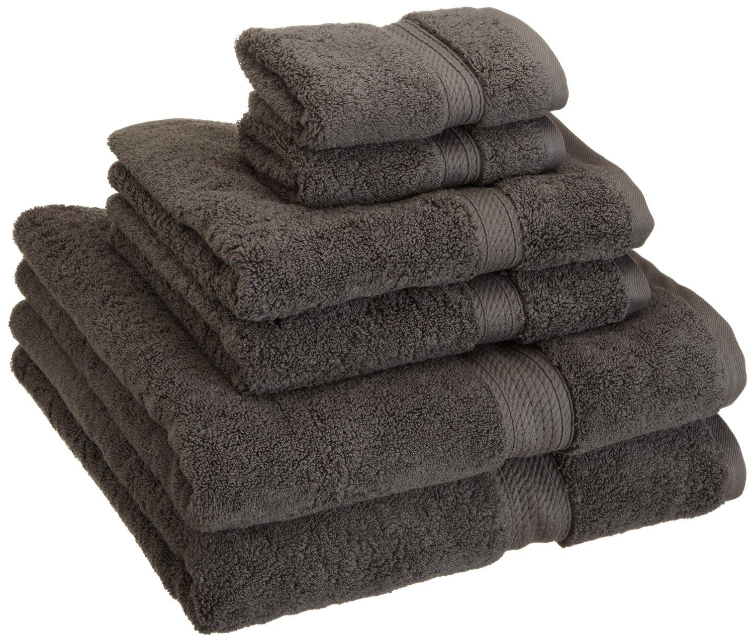 Superior 900 Gram Egyptian Cotton 6-Piece Towel Set, Charcoal