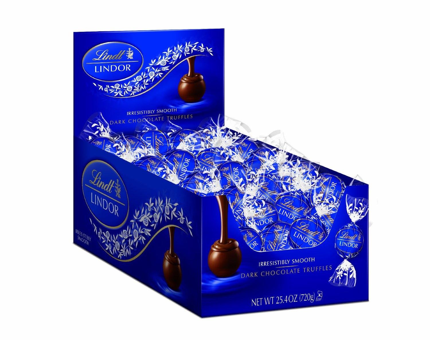 $19.99 Lindt LINDOR Dark Chocolate Truffles, 120 Count Box