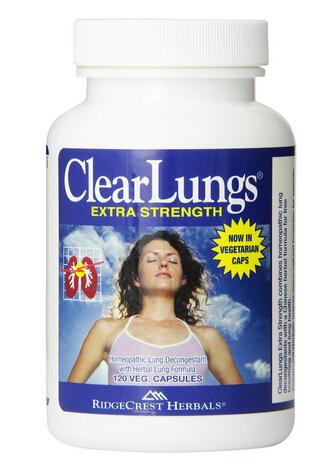 RidgeCrest Clearlungs Extra Strength, Homeo/Herbal Decongestant , 120 Veg Capsules