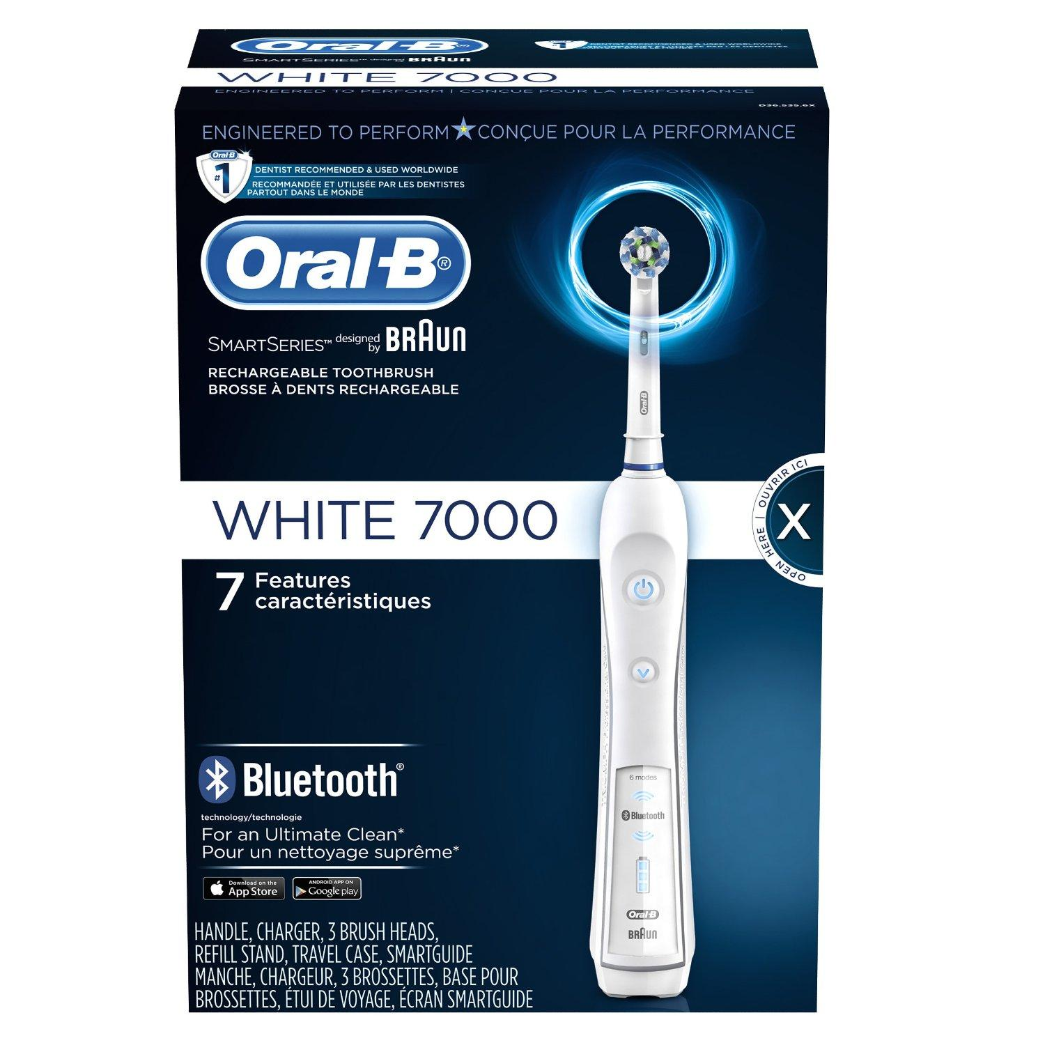 $109.99 Oral-B WHITE 7000 SmartSeries with Bluetooth Electric Rechargeable Power Toothbrush Powered by Braun