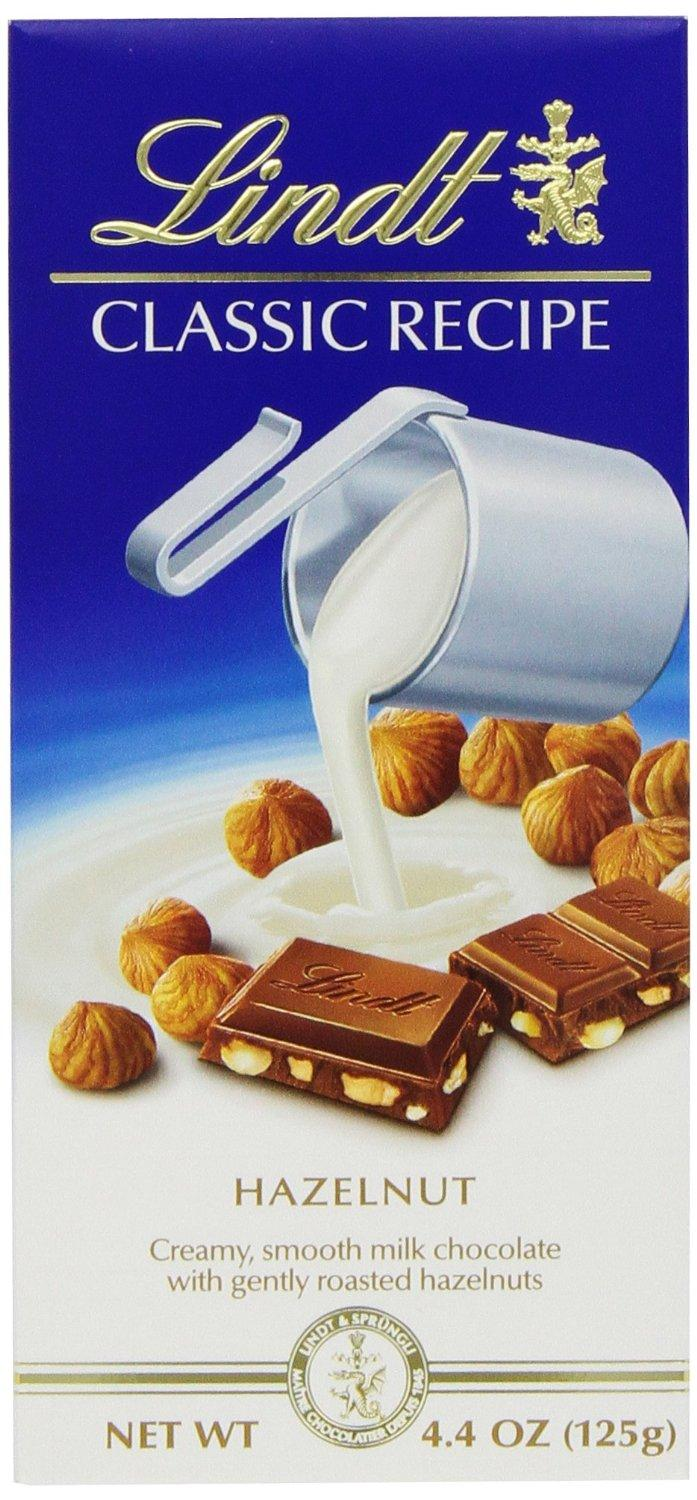 $16.86 Lindt Classic Recipes Milk Chocolate with Hazelnuts, 4.4-Ounce Packages (Pack of 12)