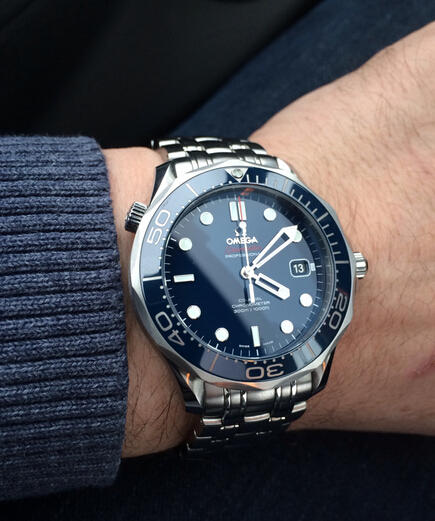 $2645 Omega Seamaster Blue Dial Automatic Stainless Steel Men's Watch