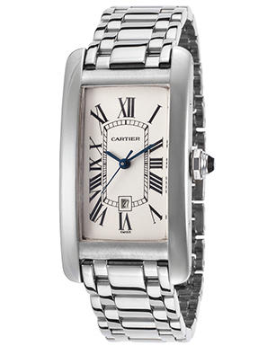 Cartier Women's Pre-Owned Tank Americaine 18K White Gold Off-White Dial Watch, Style: W26036L1-PO