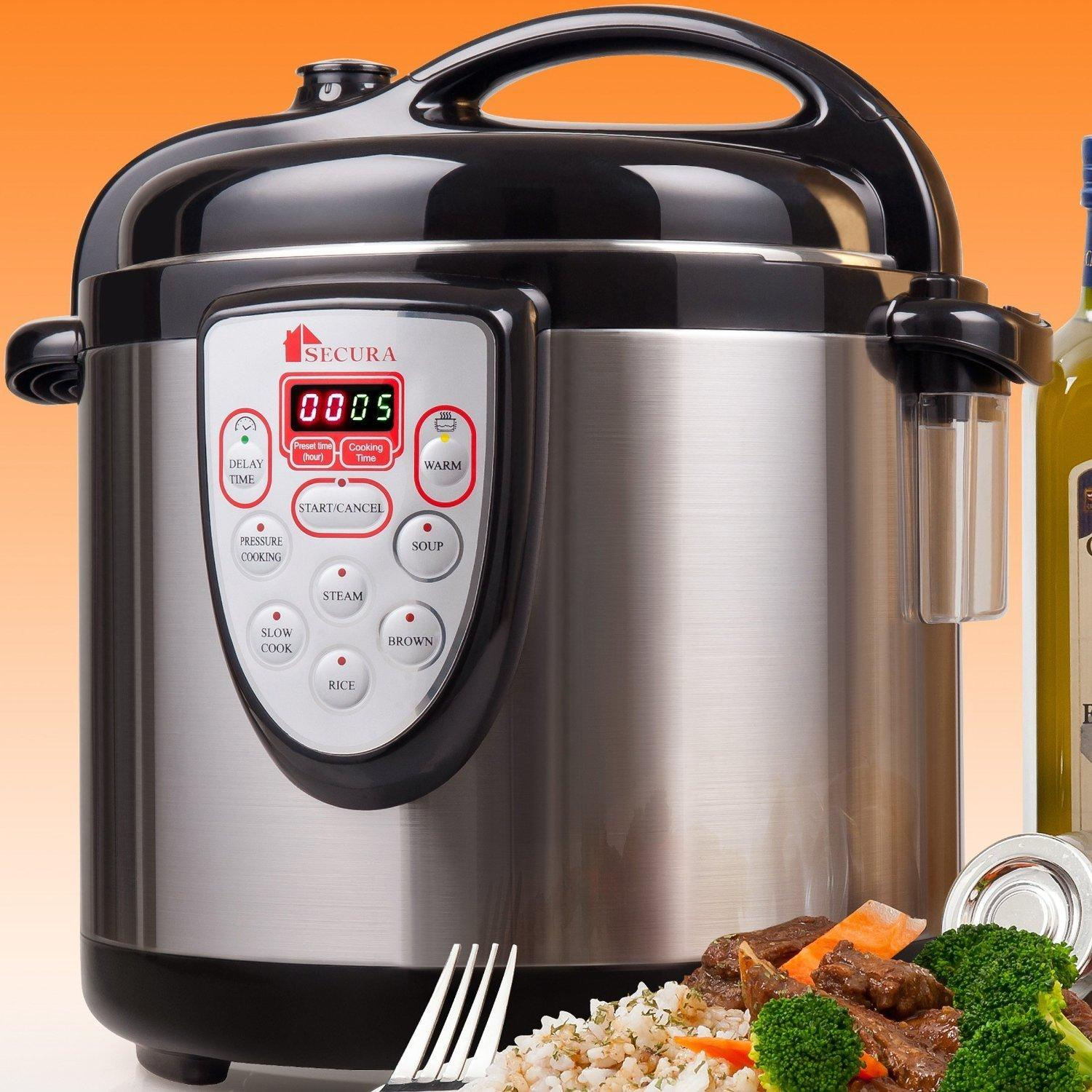 $88 Secura 6-in-1 Electric Pressure Cooker 6qt, 18/10 Stainless Steel Cooking Pot