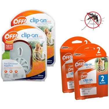 $12.99 4-Pack: OFF! Clip-On Fan Odorless Mosquito Repellent and Refills Starter Kit
